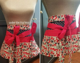 Red White Blue Floral Half Apron | Navy Arrows | Red and White Hearts | Cooking and Baking | Crafting | Art
