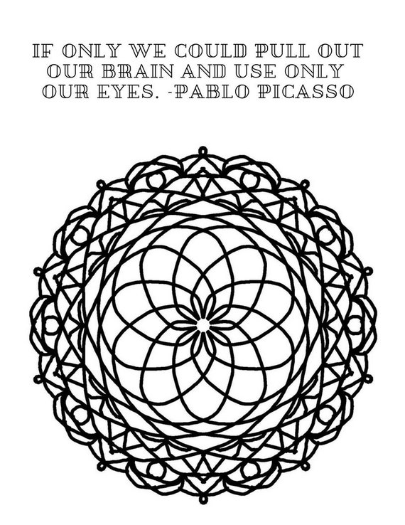 Mandala Art Quotes Adult coloring pages/ easy to color floral flower designs/ coloring book sheets/ printable