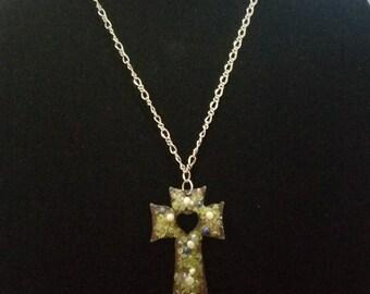 Peridot encrusted Copper Cross
