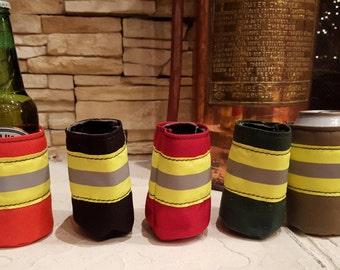 Firefighter Bunker Gear Style Can or Bottle Cooler - Turnout Gear Style Cooler- Perfect Firefighter Gift