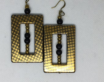 Black/Gold Rectangular Earrings