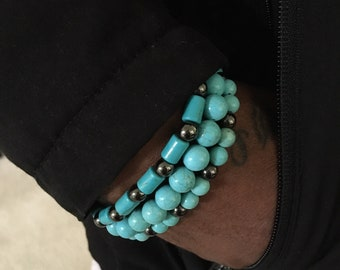 3pc Men's Turquoise Hematite Bracelet Set