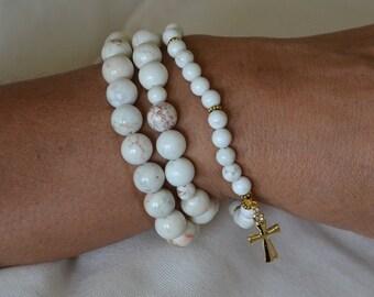 White Howlite Anklet/Bracelet Set w/Gold Cross