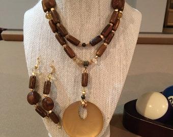 Long Wood Necklace & Earrings Set