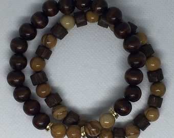 Men's Jasper & Wood Bracelet 2pc Bracelet Set