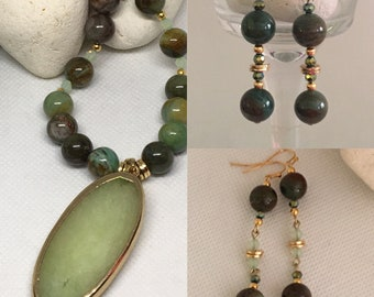 Natural Jade Necklace & Earrings Set