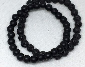 2pc Black Lava Men's Bracelet Set