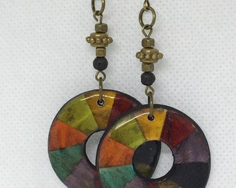 Multi-color Round Earrings