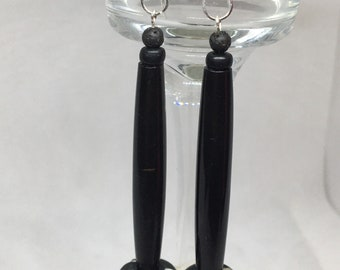 Black Horn Earrings Sterling Silver