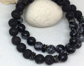2pc Men's Snowflake Jasper  & Lava Bracelet Set