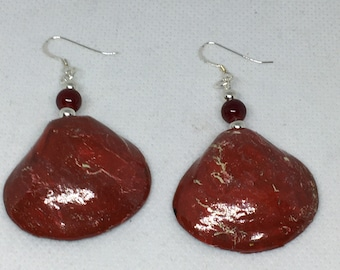 Red Hand-painted Shell Earrings w/Sterling Silver