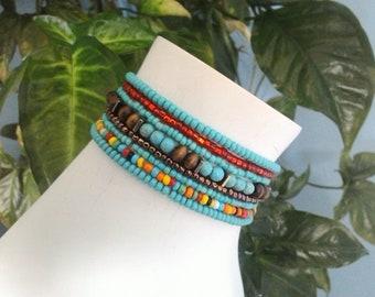 8pc Turquoise Multi Seed Bead Set