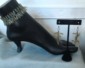 Anklet & Earring Set Czech Picasso Dagger Beads