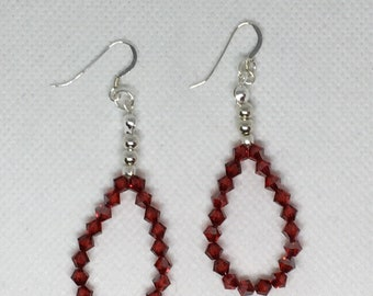 Red Swarovski Sterling Silver Earrings