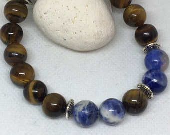 Men's 10mm Tigers Eye & Sodalite Bracelet