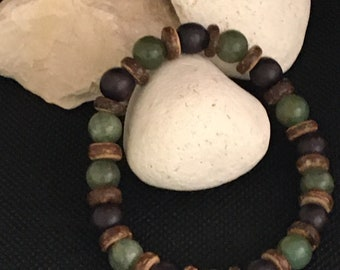 Men's Wood/Gemstone Bracelet