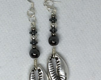 Metal Cowrie Shell Earrings w/Sterling Silver
