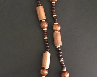 Men's Large Tube Wood Bead Necklace