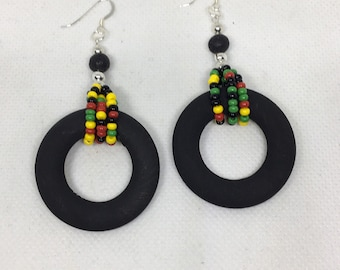 Black Wood Caribbean Earrings