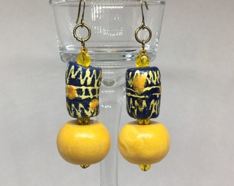 Yellow Trade Bead Earrings