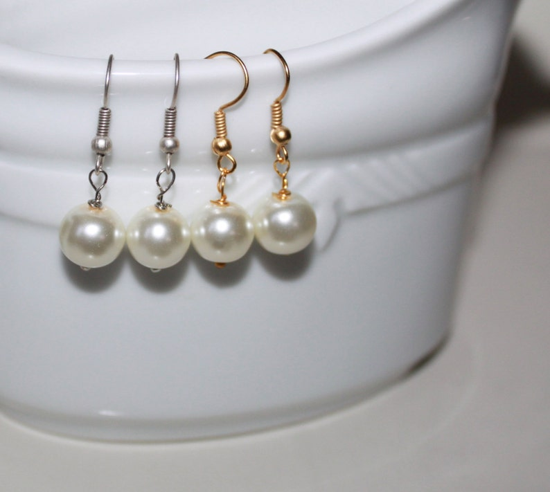 SALE-Ivory Pearl Drop Earring-Bridesmaid jewelry Dangle earring-Gold  Plated/Silver Plated Bridesmaid Earring set of 4,5,6,7,8,9