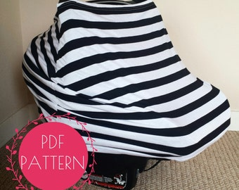 Car Seat Cover Nursing Sewing Pattern DIY Stretchy Baby Tutorial