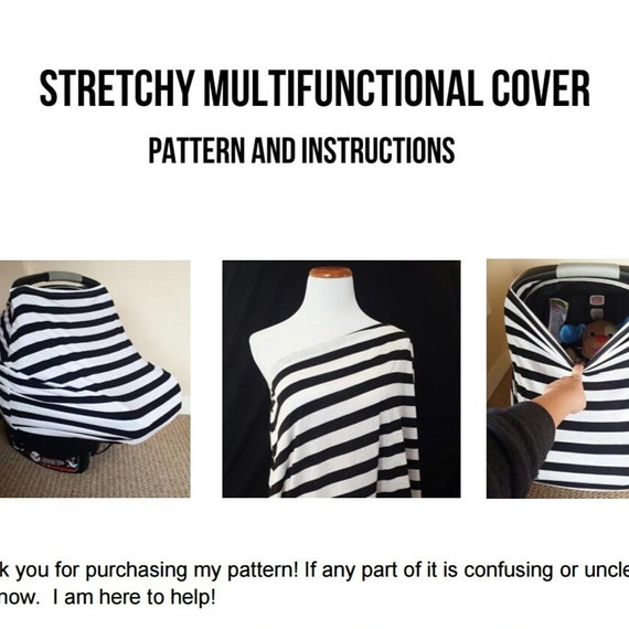 Car Seat Cover Nursing Sewing Pattern DIY Stretchy Baby