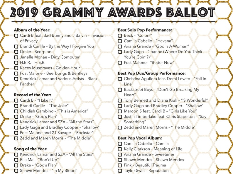 2019 Grammys Ballot / Grammy Awards Party Game / Printable Ballot /  Download /