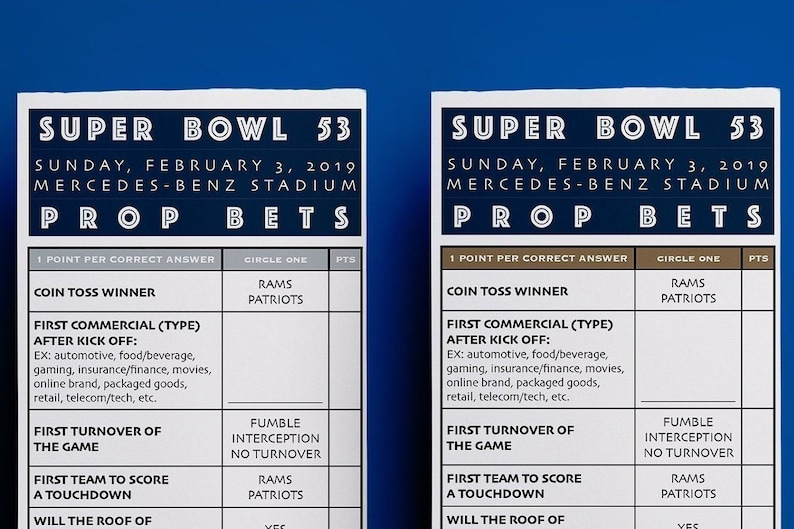 image regarding Printable Super Bowl Prop Bets known as 2019 Tremendous Bowl 53 Prop Guess Pool Activity // Patriots + Rams Colours // SuperBowl 53 Get together Printable // Soccer Betting Pool Match down load