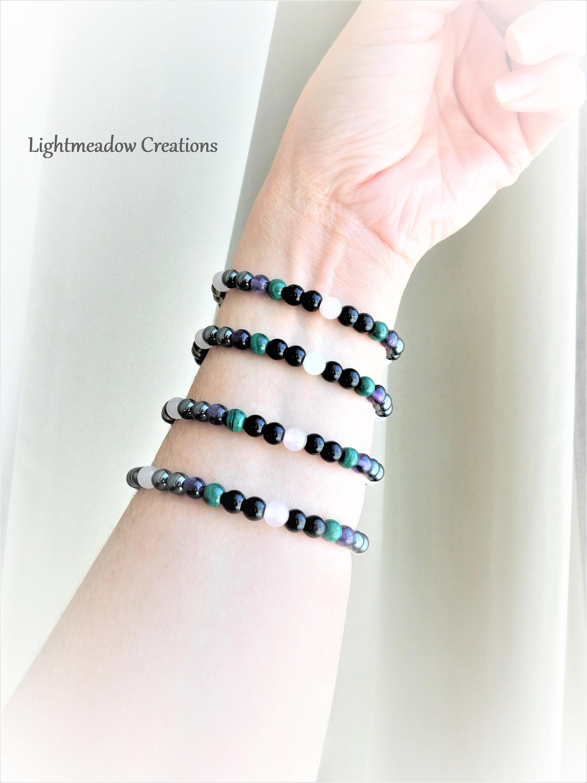 Rose Quartz-Black Tourmaline-Malachite-Amethyst 6mm Beaded Handmade Empath Protection Bracelets With Stretch Jewelry Cord Choose Your Size