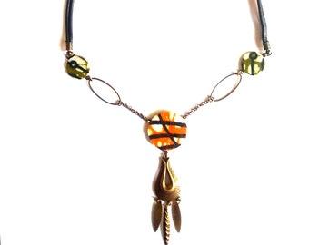 Fabric necklace, Wax, ethnic inspiration - designer jewelry