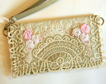 Shabby Chic Clutch Ivory Wedding Wristlet Cottage Chic Evening Bag with Ribbon Embroidery Roses Vintage Battenburg Lace Clutch Original OOAK