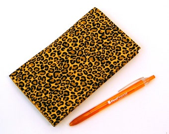 Leopard Fabric Checkbook Cover Duplicate Checkbook Case with Pen Holder African Wild Animals Print Fabric Checkbook Register Holder