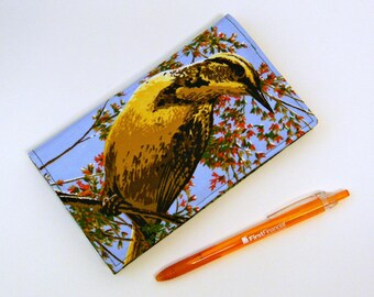 Fabric Duplicate Checkbook Cover with Pen Holder  Oriole Bird Fabric Checkbook Holder  Checkbook Register Coupon Holder  Ornithology Gift