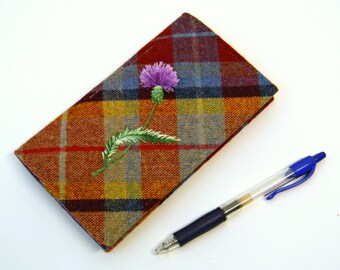 Plaid Textile Duplicate Checkbook Cover with Pen Holder Checkbook Case with Tartan Fabric Hand Thistle Embroidery Checkbook Register Holder