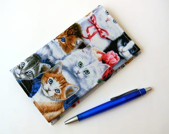 Duplicate Checkbook Cover with Pen Holder Kittens and Flowers Collage Fabric Checkbook Holder Colorful Animals Fabric Checkbook Register