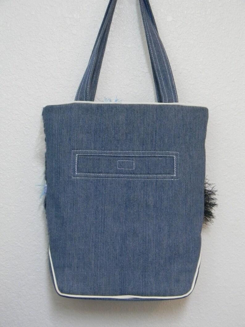 Freeform Crochet Artisan Handbag Blue Denim Zippered Tote Boho Fluffy Yarn Purse Original Design OOAK