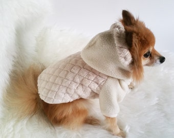 39820765e Handmade Dog Beige coats, puppy clothes, pet hoodies, small dogs  outerwears, luxury dog jacket,cute puppy hoodie,winter outer wear for t-cup
