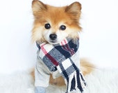 Dogs navy white red Plaid Scarf, dog neck warmer, dog french muffler, sweater scarves, dog winter gear, pet accessories, dog hoodies, puppy