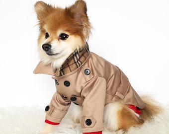 Dog Brown, Navy Trench coats, puppy clothes, pet hoodies, small dogs outerwear, luxury dog jacket, puppy hoodie,winter dog sweater,dog shirt