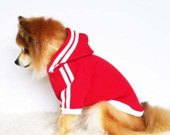 Double stripe dog hoodie, HANDMADE dog clothes, XS~4XL, pet clothes, small dogs clothes, winter clothes, puppy hoodie,dog hoodies, sweaters
