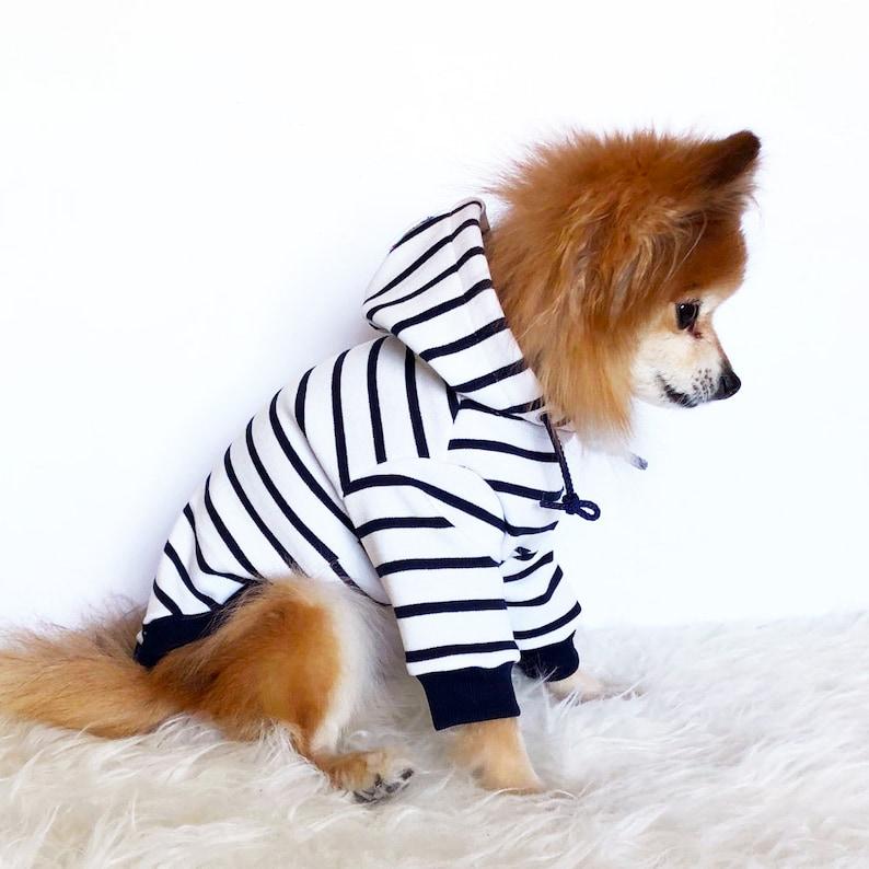 Navy Black Red striped Hoodie Dog hoodie Cute Dog clothes Navy & White Stripe