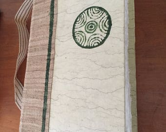 Journal with green block print deckle edge