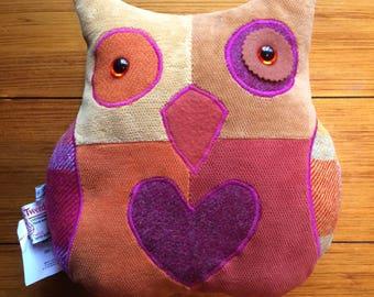 Orange and Pink Corduroy Harris Tweed Patchwork Owl