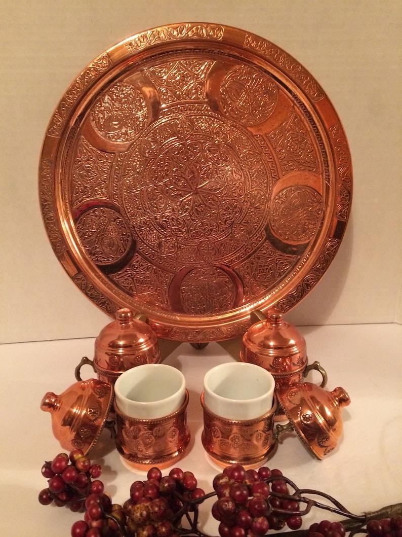 CopperPorcelain Turkish Coffee Set Copper Decor Gural Turkish Porcelain Copper Tea Set Exotic Decor Vtg Turkish Copper Espresso Set
