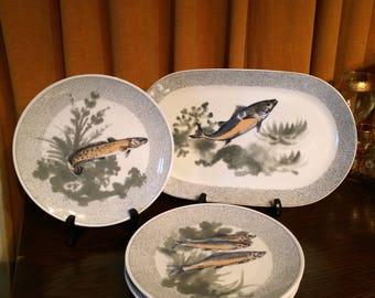 Fish Plates, Porcelain, KAHLA , GDR (German Democratic Replublic), Platter, Serving Plates, European, East Germany, 1950's