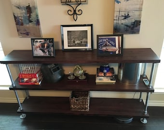 Wood with Galvanized Pipe Console Table