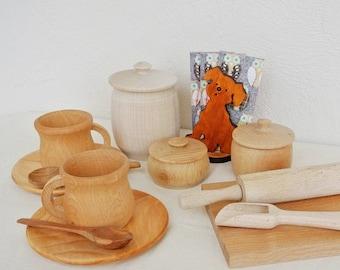 Wood dishes set. Wooden set. Play kitchen wood set. Wooden toys.