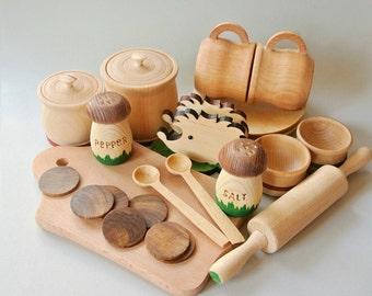 Play kitchen wood set (23pcs). Wooden toys. Wooden food play set. Wood tea set
