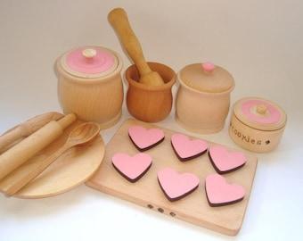 Baking set for kids. Wooden baking set.  Wooden toys.